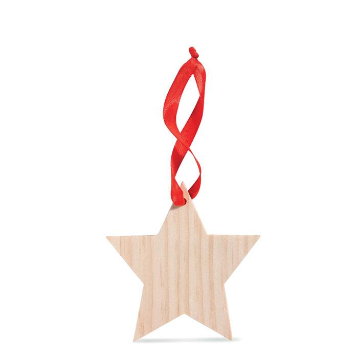 Estrella madera colgante. Regalos promocionales y reclamos publicitarios