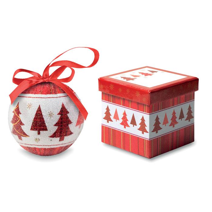 Bola navideña en caja . Regalos promocionales y reclamos publicitarios