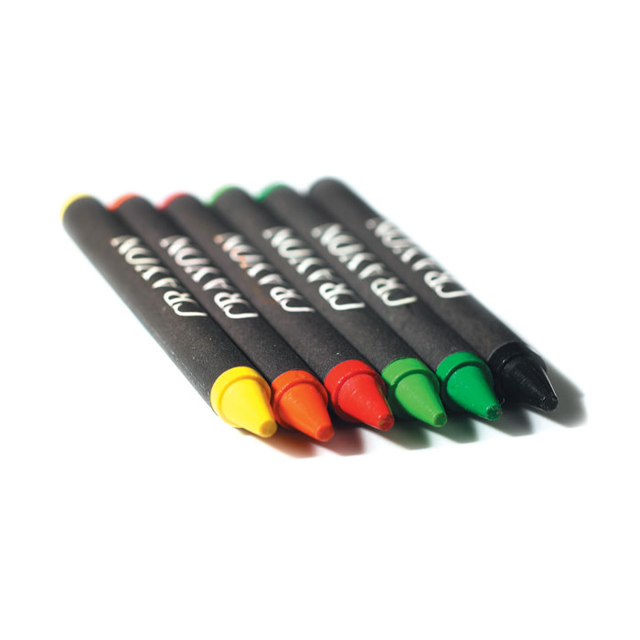 Estuche 6 lápices cera  . Regalos promocionales y reclamos publicitarios