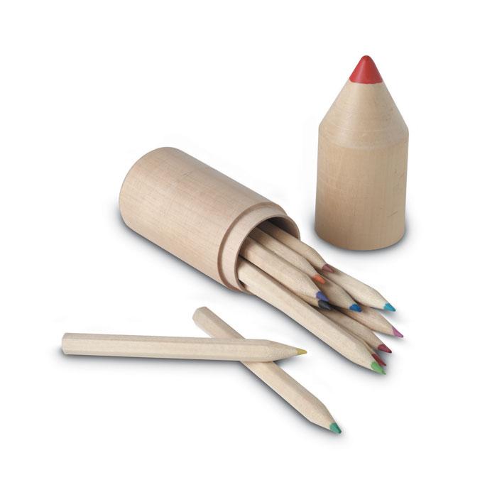 12 lápices en caja madera  . Regalos promocionales y reclamos publicitarios
