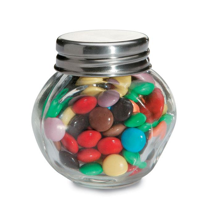 Chocolates en bote cristal. Regalos promocionales y reclamos publicitarios
