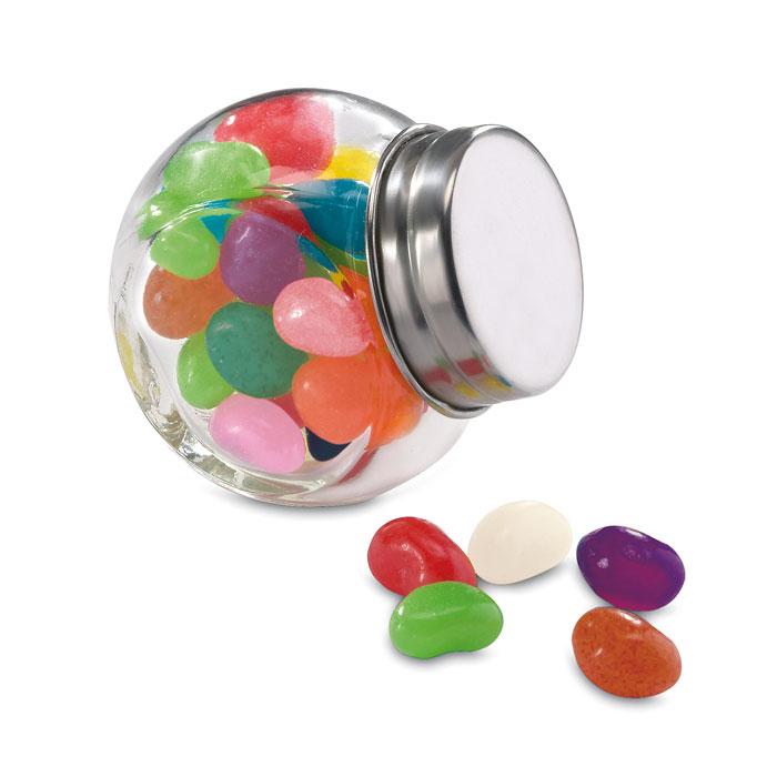 Bote cristal con caramelos. Regalos promocionales y reclamos publicitarios