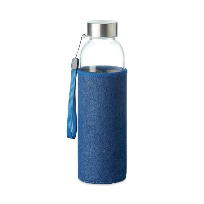 Botella cristal con funda. Regalos promocionales y reclamos publicitarios