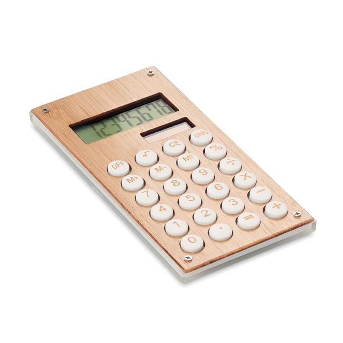 Calculadora bambú 8 dígitos. Regalos promocionales y reclamos publicitarios