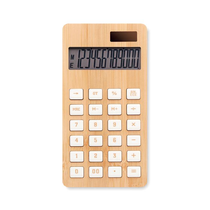 Calculadora bambú 12 dígitos. Regalos promocionales y reclamos publicitarios