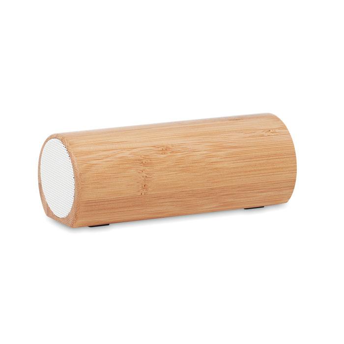 Altavoz bambú inalámbrico 2 x 5W. Regalos promocionales y reclamos publicitarios