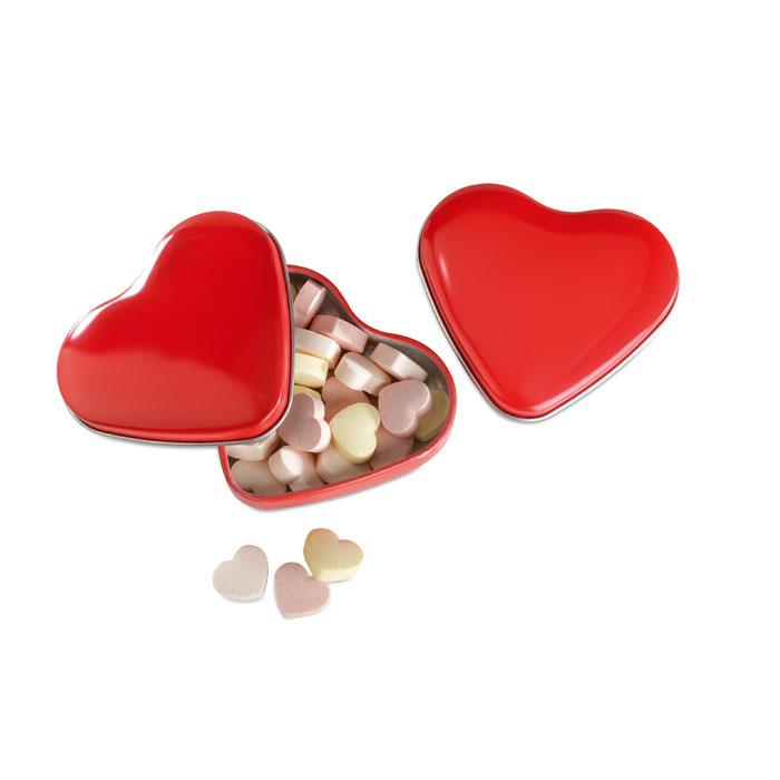 Caja corazón con caramelos   . Regalos promocionales y reclamos publicitarios