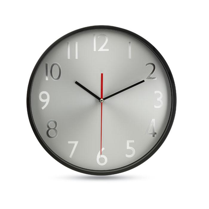 Reloj pared esfera plateada   . Regalos promocionales y reclamos publicitarios