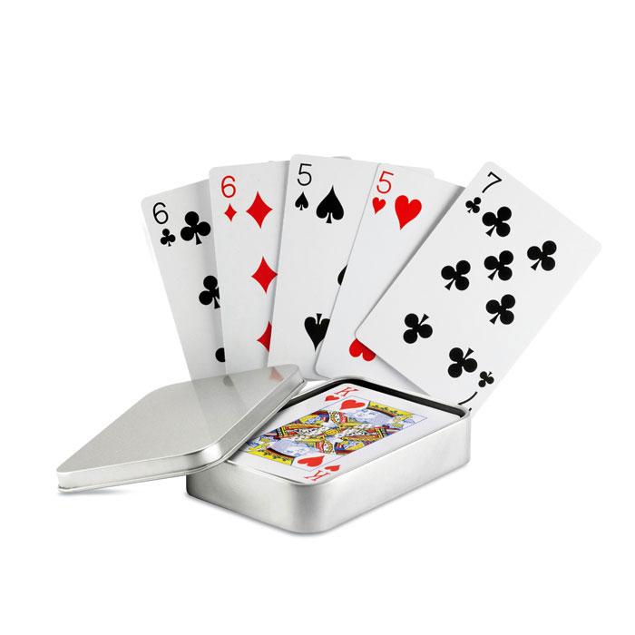 Juego cartas caja metal   . Regalos promocionales y reclamos publicitarios