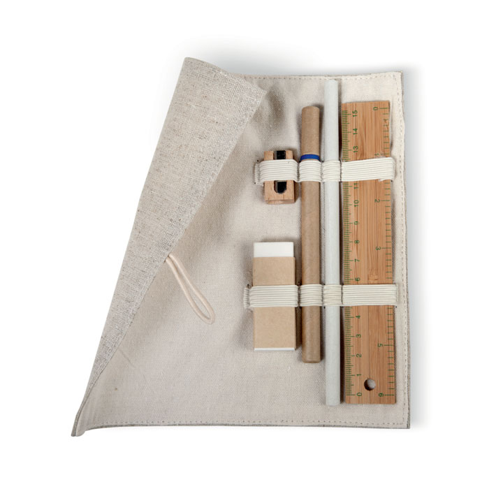 Set papeleria en bolsa algodón. Regalos promocionales y reclamos publicitarios
