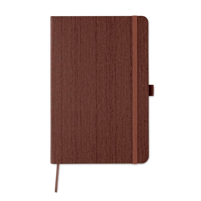 Libreta A5 PU diseño madera. Regalos promocionales y reclamos publicitarios
