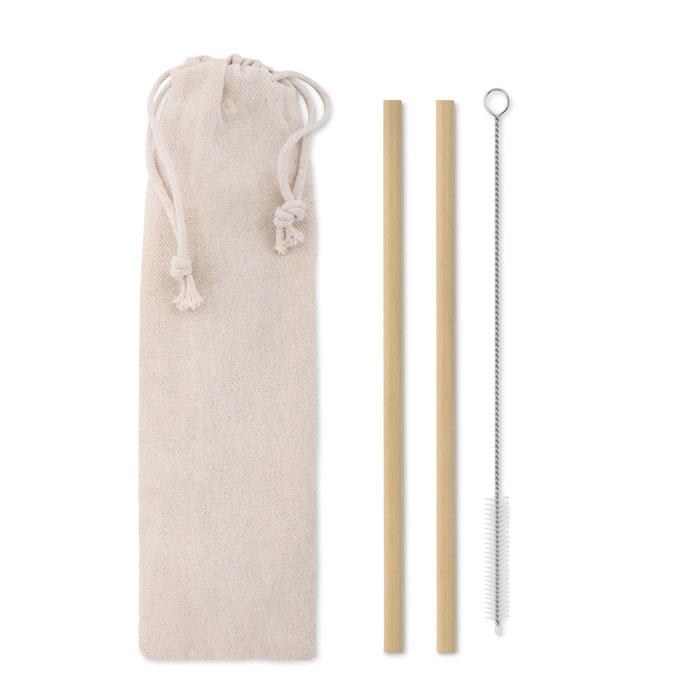 Pajita bambú cepillo funda   . Regalos promocionales y reclamos publicitarios