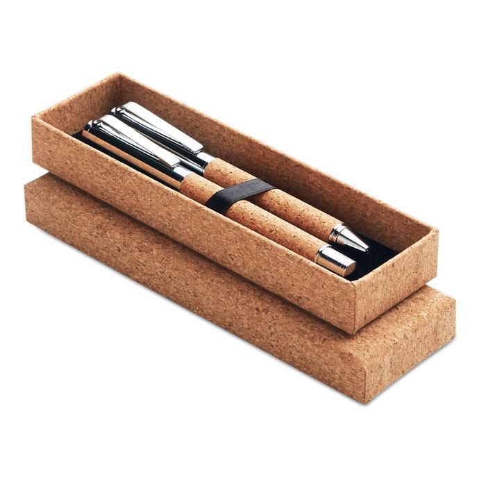 Set bolígrafo/ roller corcho. Regalos promocionales y reclamos publicitarios