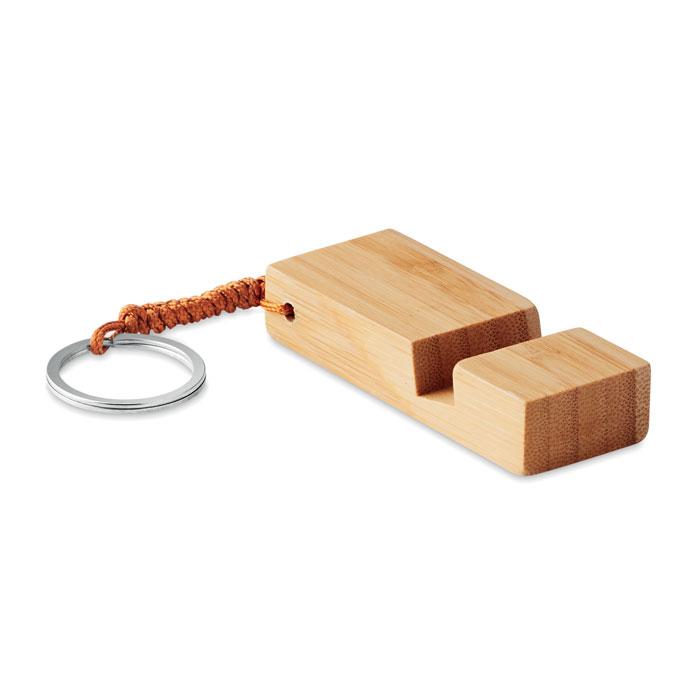 Llavero bambú con soporte. Regalos promocionales y reclamos publicitarios