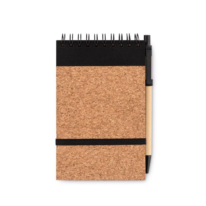 Libreta A6 bolígrafo tapa corcho. Regalos promocionales y reclamos publicitarios