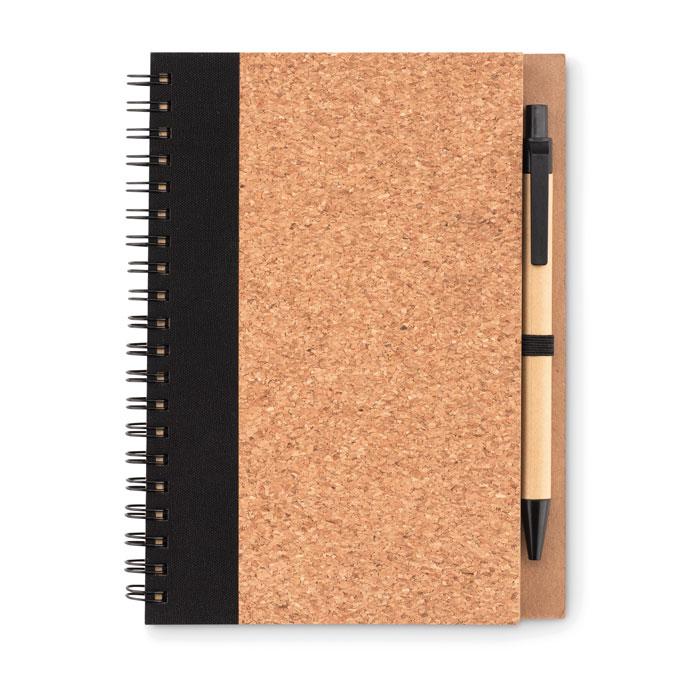 Libreta con bolígrafo tapa corcho. Regalos promocionales y reclamos publicitarios