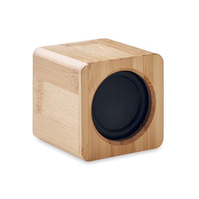 Altavoz inalámbrico bambú. Regalos promocionales y reclamos publicitarios
