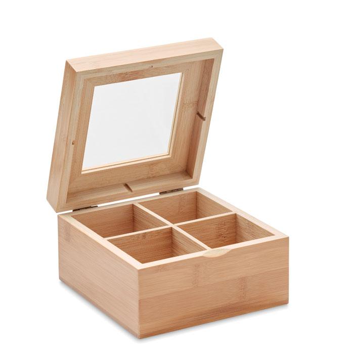 Caja té bambú          . Regalos promocionales y reclamos publicitarios
