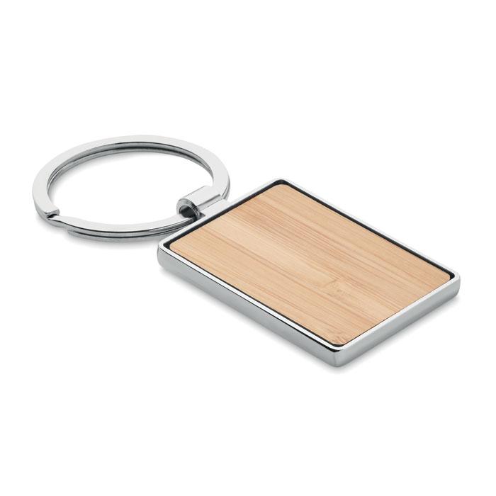 Llavero rectangular/ bambú   . Regalos promocionales y reclamos publicitarios